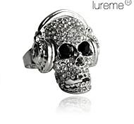 Lureme®Skull with Headphone Rhinestone Ring