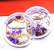 Purple Star Liquid Ear PlugsTunnel Gauge Piercing Body Jewelry A Set Of 2 8mm
