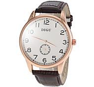 Men's Second Dial Genuine Leather Band Quartz Wrist Watch