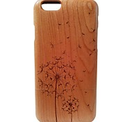 Kyuet Wooden Case Artist Made Cherry Wood Laser Engraving Dandelion Shell Cover Skin Cell Phone Case for iPhone 6