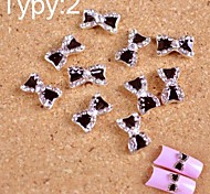 10PCS Black Tie Design of 3D Alloy DIY Crystal Nail Accessories  Nail Jewelry