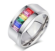 Dazzle Beautiful Colorful Rainbow Set Auger Titanium Steel Ring