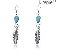 Lureme®Alloy Heart Pattern Feather Pendant Earrings