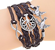 Lureme®Vintage Infinate Life Tree Birds Braided Bracelet