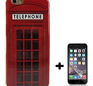 Red telephone booth Design Pattern Soft TPU Case Cover with Screen Protector for iPhone 6