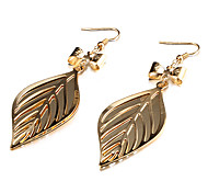 Vintage Bowknot Leaf Shape Multicolor Alloy  Drop Earring(1 Pair)(Golden,Silver)