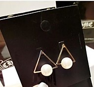 Handsome Modern Triangle Pearl Earrings