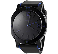 Men's Big Round Dial 3D Dial Black Silicone Band Quartz Wrist Watch (Assorted Colors)