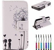 Dandelion's Promise Pattern PU Leather Full Body Case with Touch Pen for iPhone 4/4S