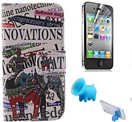An Elephant and English Letters Pattern PU Leather Full Body Cover with Pig Stand and Protective Film for iPhone 4/4S