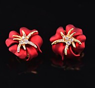 Fashion Sea Star Red Alloy Ear Studs (More Color Available)(1 pair)