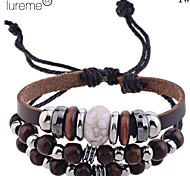 Lureme®Fashion Wooden Beads Leather Braided Bracelet
