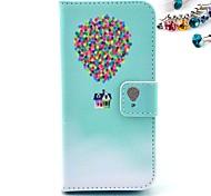 padrão balão de couro pu caso de corpo inteiro com slot para cartão e ficar para iphone 5c