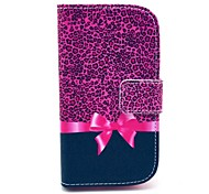 Leopard Bow Pattern PU Leahter Full Body Cover with Stand and Card Slot for Samsung Galaxy Trend Plus S7580/S7562