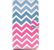 Pink Wave Pattern PU Leather Case with Stand Card Holder for Samsung Galaxy Note 4