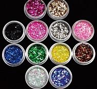 12Pcs Colors 2MM Acrylic Paillette Nail Art Decoration