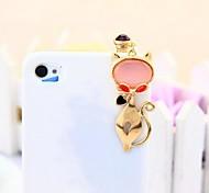 3.5mm gato lindo 1pcs moda tapón anti-polvo para el iphone y otros 6 (colores aleatorios)