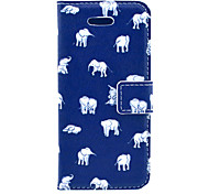 Indian Elephant Cartoon Pattern PU Leather Case Cover with Stand and Card Holder for iPhone 5C