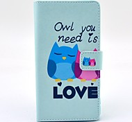 Owl You Need Love Cartoon Pattern PU Leather Case Cover with Stand Card Holder for Sony Xperia Z3
