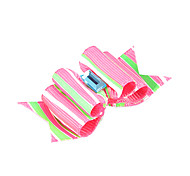 Lovely Ribbon Style Vertical Stripe Pattern Rhinestone Decorated Rubber Band Hair Bow for Pet Dogs