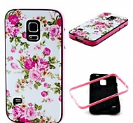 2-in-1 Pink Rose Peony Pattern TPU Back Cover with PC Bumper Shockproof Soft Case for Samsung S5 I9600