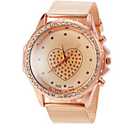 Women's Round Diamante Case Heart Pattern Dial Alloy Band Quartz Wrist Watch Cool Watches Unique Watches Fashion Watch