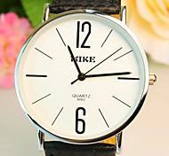 Unisex Round Dial Leather Band Quartz Fashion Watch (Assorted Colors)