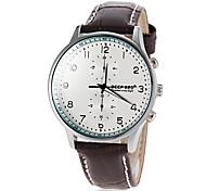 Men's Round Dial Genuine Leather Band Quartz Wrist Watch  (Assorted Colors)