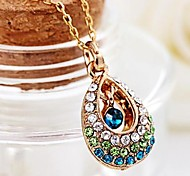 Angel Hollow Out Colorful Crystal Tears Drops Pendant Necklace