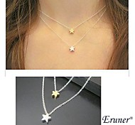 Eruner® Fashion Little Star Shape Tiny Pendant Necklace(Double Pendant)