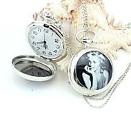 Personalized Monroe Pocket Watch Silver Enamel Metal Lanyards