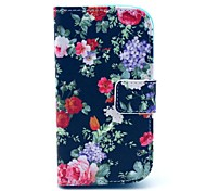 Black Rose Flower Pattern PU Leahter Full Body Cover with Stand and Card Slot for Samsung Galaxy Trend Plus