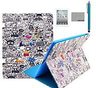 coco Fun® Karikatur-Graffiti-Muster PU-Leder Flip-Standplatzfall mit Displayschutzfolie und Stylus für Apple iPad 2/3/4
