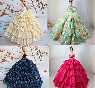 4 Pcs Barbie Doll Royal Court Princess Style Deluxe Lace Dress