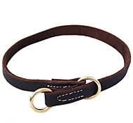 Cody Durable Cow Leather Collar with Copper Band for Pets Dogs