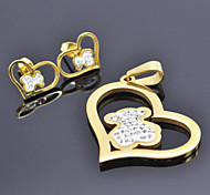 Fashion Gold with Crystal Bear Stainless Steel(Include Pendent and Earring)Jewelry Set (Gold)