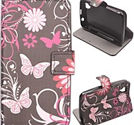 Pink Butterly Pattern PU Leather Case with Stand and Card Slot for Wiko Sunset