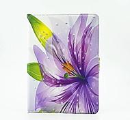hermosas flores de color púrpura de la PU de la tableta proteger caso con soporte para iPad de aire 2