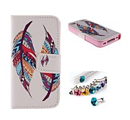 Colorful Feathers PU Full Body Case with Card Slot and Stand for iPhone 4/4S