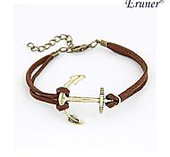 Personality Flash Rhinestones Anchor Bracelet