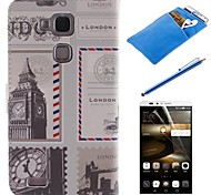British Style Design PU Leather Full Body Case with Stylus、Protective Film and Soft Pouch for Huawei Mate 7