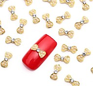 10PCS 3D Crystal Acrylic Rhinestones White Pearl Nail Art Alloy Bow Tie Jewelry for Nail Design
