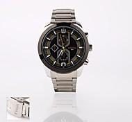 presente personalizado novo mostrador preto de aço inoxidável analógico esporte banda gravado relógio dos homens de estilo
