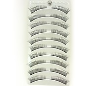 10Pcs Black Fiber False Eyelashes