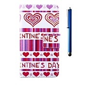 4.95 Inch Love Pattern PU Wallet Leather Case and Pen for LG Nexus 5