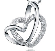 925 Sterling Silver Lingering Double Heart Pendant