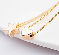 Trendy Aolly Five-pointed star and Love Fashion Necklaces(Random Delivery)