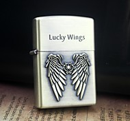Personalized Engrave Wing Pattern Gold Metal Oil Lighter
