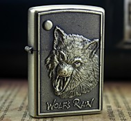 Earth Gold  Valorous  Wolf Pattern Metal Relief Oil Lighter