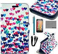 coco Fun® bunten Herzen Muster PU-Leder Ganzkörper-Gehäuse mit Schutzfolie, Kabel und Stift für motorola moto g